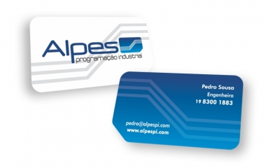 Cartão de visita campinas | impressos com verniz total, laminação fosca + verniz localizado | opcional com corte especial